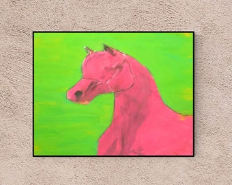Pink Horse:  - horse portrait - custom pet portrait - personalized horse - horse illustration - horse lover gift