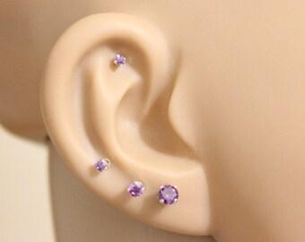 Purple Stud Earrings, Febuary birthstone, Amethyst stud earrings, birthstone stud earrings, tiny stud earrings bridesmaid gift baby earrings