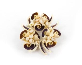 Vintage Sea Shell Brooch, Cluster, Brown, Cream