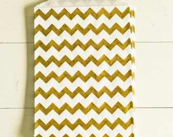 Paper Bags in Gold & White Chevron Stripes - Set of 20 - 5x7 Party Favor Packaging Gift Wrapping Wedding Holiday Sacks Merchandise