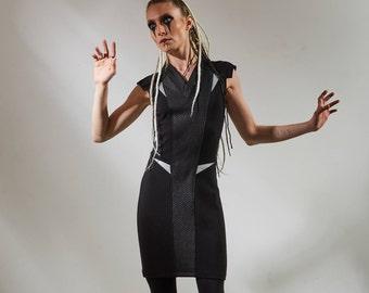 Black vneck dress  cyberpunk  Sci-fi futuristic refclective fabric slim fit jersey bold avant garde- TR3 dress