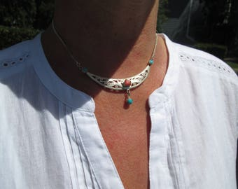 Ornate Turquoise, Coral and Sterling Silver  Pendant Necklace
