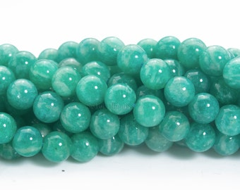 Russian amazonite round beads - natural deep green amazonite beads - top quality amazonite beads - amazonite beads for jewelry -4-8mm-15inch