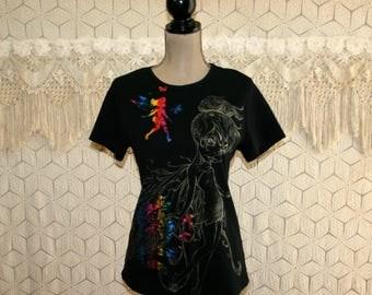 Womens Disney Clothing Tshirt Tinkerbell Top Tink Fairy Rainbow Metallic Emo Goth Edgy Graffiti Lettering Gangster Medium Large