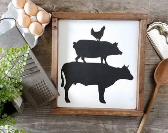 Farm Animals Stacked - Cow Pig Chicken - Farmhouse Decor - Farmhouse Signs - Farmhouse Kitchen Decor - Kitchen Decor - Kitchen Signs