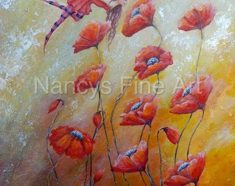 Fairy smelling the the flowers poppy art available on various materials.  Fairy Painting by Nancy Quiaoit at Nancys Fine Art.