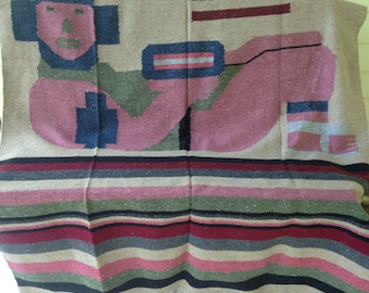 Vintage Mexican Woven Blanket/Rug/Wall Hanging/Reclining figure/PreColumbian/Mayan/Chacmool/Dark Red Pink Gray Tan/52 x 80/Southwest