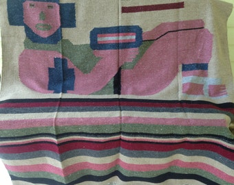 Vintage Mexican Mayan Woven Blanket/Rug/Wall Hanging/Reclining figure/PreColumbian Chacmool/Stripes/Dark Red Pink Gray Tan/52 x 80/Southwest