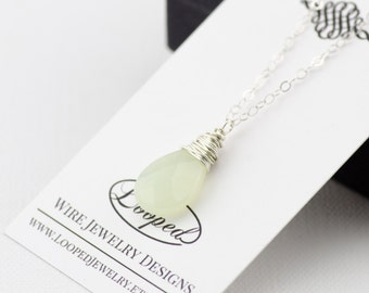 Green Jade Silver Necklace Green Personalized Bridesmaid Gift Sterling Silver Necklace