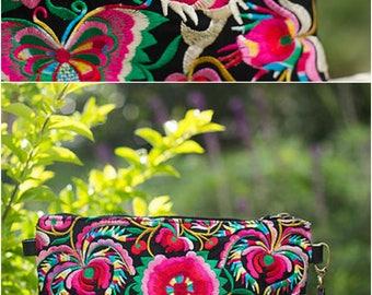 Gypsy Wristlet Clutch Bag - Hmong Embroidery Bag - Tribal Ethnic Purse ( FREE SHIPPING WORLDWIDE )