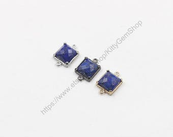 9mm Tiny Faceted Lapis Lazuli Connectors -- With Electroplated Gold Edge Charms Wholesale Supplies YHA-294-15