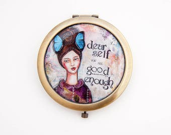 Compact Mirror - I am Good Enough - Affirmations - Purse Mirror - Positive Inspiration -  Travel Mirror - Self Love - Womens Gift
