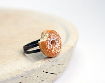 Donut Ring, Powdered Doughnut ring, Polymer Clay Ring, Mini Food Jewelry,  Mini Doughnut Ring, Donut Jewelry, Foodie gift, Teenager Ring