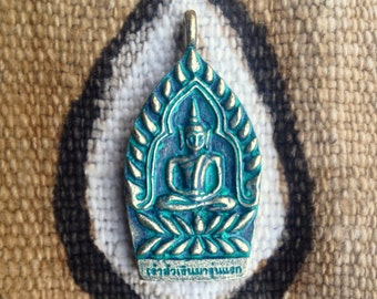 Green Seated Buddha and Temple Pendant from Thailand with Green Patina- 1 1/2 Inches - 38 mm