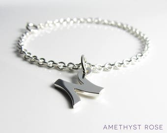 Initial Charm Bracelet ~ Sterling Silver 925‰ bracelet with a letter charm on a chain ~ Handmade monogram bracelet ~ Personalised bracelet
