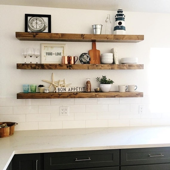 Free shipping wood floating shelves primitive shelf Floating shelf ideas for kitchen