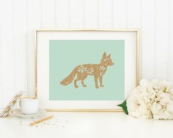 Fox Wall Art fox print printable woodland nursery fox wall art decor fox