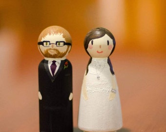 Custom Hand-Painted Wedding Cake Toppers