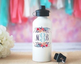 Custom Monogram Water Bottle, Floral Monogram Water Bottle, Personalized Gift, Initials Water Bottle, Personalized Gift, Monogrammed Mug