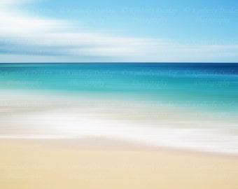 Fine Art Abstract Beach Photograph {Tropical Artwork, Seascape Picture, Large Ocean Photo, Original Photography, Coastal Home Decor Print}