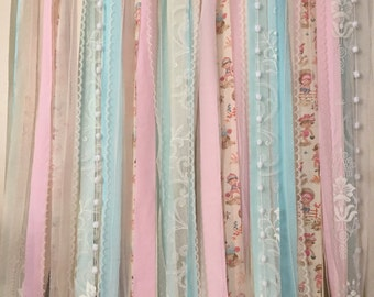 Shabby Chic Curtain Garland 6 Nursery Pink Mint