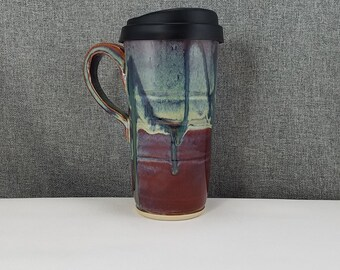 IN STOCK* Pottery Travel Mug / Commuter mug with silicone lid - Stone Blue / Drip