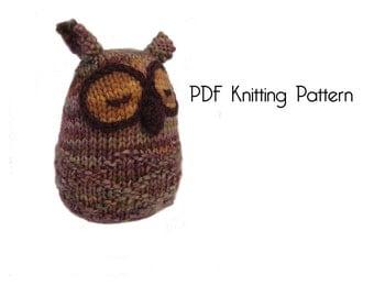 Knitted Owl Pattern, PDF Pattern, Knitting Pattern, DIY, Knitted Toys, Stuffed Animal Stuffed toy, Hand Knit Toy, Amigurumi,