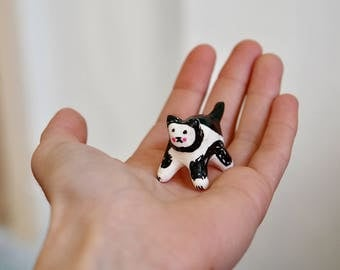 """Disco cat collection """"Mmini black_white cat"""" , painted clay sculpture"""