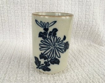 Cobalt Blue  Floral on White Tumbler Vase, Cobalt Blue on White, Brown Rim, Crackled Finish, Crazed Finish,Blue Floral Pen Holder