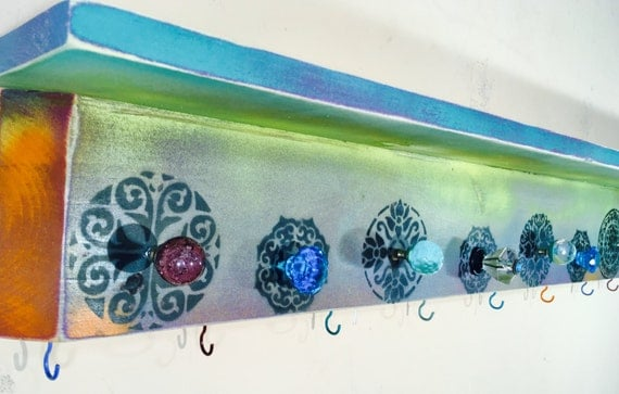 floating nightstand/ wall coat rack hanging vanity /custom wooden shelves boho entryway organizer painted mandalas decor 7 knobs 8 hooks