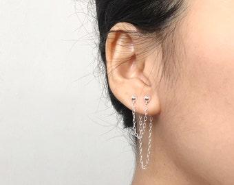 Double Piercing Earring | Two Hole Earring | Ear Jacket | Ear Climber | Delicate Earring | Double Chain Earring | Minimal Earring
