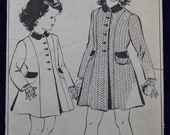 1950's Sewing Pattern for a Girl's Coat in Age 6 - Style 4783