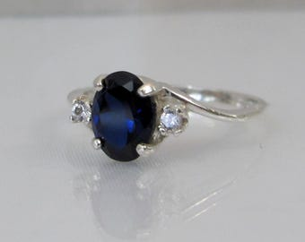 Sapphire Accent Ring, Blue Sapphire Ring, 8x6mm Sapphire Gemstone, Lab Grown, September Birthstone, Engagement Ring, Wedding Jewelry