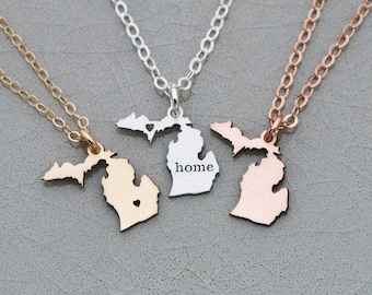 Michigan Necklace State Charm •Michigan Christmas Present Sterling Silver Pendant Michigan State Home State Pride Personalize Location Charm