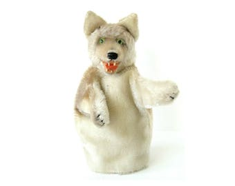 VINTAGE WOLF PUPPET - Very sweet Steiff 'Loopy' the wolf hand puppet