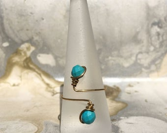 Gold Wire Wrapped Ring With Turquoise Howlite | Turquoise Ring | Gold Rings | Boho Rings | Minimalist Rings | Adjustable Rings |