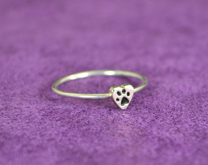 Silver Dog Print Ring, Pet Jewelry, Monogram Heart Ring, Silver Heart Ring, Personalized Heart Ring, Sterling Heart Ring, Silver Ring
