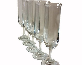 Set of 5 Champagne Trumpet Flutes