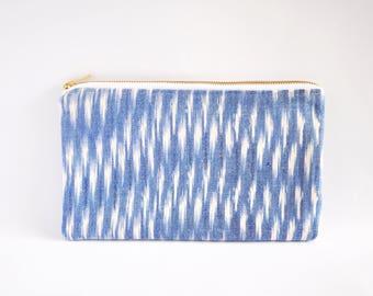 Clutch Bag, Clutch Purse, Zipper Clutch, Clutch Wallet - Blue & White Ikat