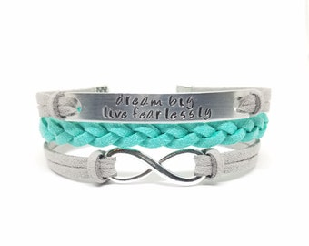 DREAM BIG Live Fearlessly Bracelet   Personalized Inspirational Jewelry   Courage Jewelry   Graduation Gift for Girls   Sentiment Jewelry
