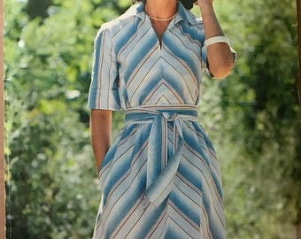 Butterick 5853 - 1970s See & Sew Flared Bias Dress with Slash Front and Pointed Collar in Knee Length - Size 12 Bust 34