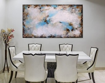 Original Abstract Art Large Canvas Painting Blue And White Wall Art Abstract Bedroom Living Room Art Large Blue Acrylic Painting Christovart