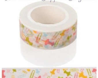 Washi Tape - Decorative Tape - Full Roll 15mm Paper Tape - Office Supply Theme - Planner Supplies, Calendars, Scrapbooks, Cards, Etc - TAPE8