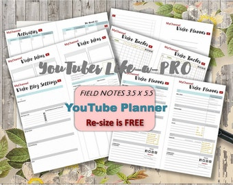 Field notes inserts travelers notebook YouTube  Social media Planner video blog vlog content planning  _  Resize is Free