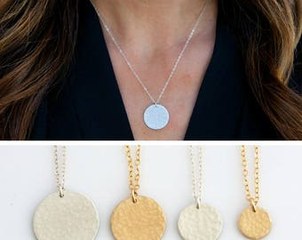 Hammered Layering Necklace, Hammered Gold Disc Necklace, Sterling Silver Gold Fill Circle Tag Necklace, Gift for her, LEILAjewelryshop, N274