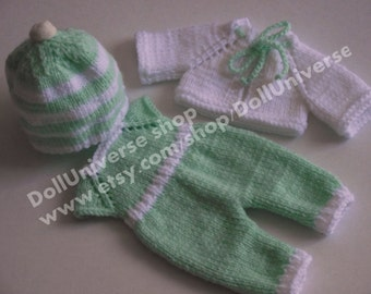 Handknitted Outfit 4 piece  for Antonio Juan 26cm  baby doll\Reborn 10 Inch