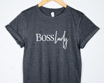SALE: Boss Lady Shirt // Boss Lady Tee // Dark Gray Cuff Sleeve Tee // Girl Boss Tee // Motivational Shirt // Inspirational Tee