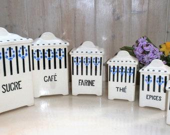 Vintage Art Deco Spice jars are brothers / / Bohemian Canisters / / 6 Art Deco brothers URBACH spice jars