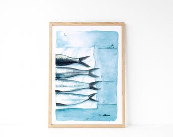 Sardines print, Sea print, Fish print, Sea wall art, Sea Decor, Maritime decor, Nordic decor, Scandinavian decor, Nordic style, Watercolor