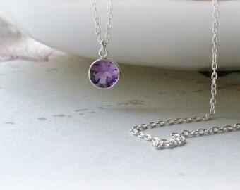 Sterling Silver Amethyst Necklace Amethyst Pendant Birthstone Pendant Bridesmaids Gifts